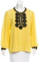 Oscar de la Renta Embellished Silk Blouse