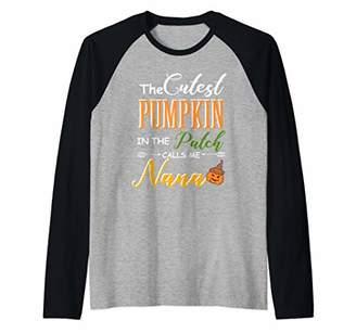 Cutest pumpkin in the patch calls me Nana gift for women Raglan Baseball Tee