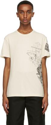 Alexander McQueen Beige Rose Sketch Print T-Shirt