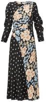 Rebecca Taylor Blush Rose-print Silk-blend Midi Dress - Womens - Black Multi