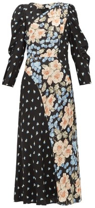 Rebecca Taylor Blush Rose-print Silk-blend Midi Dress - Black Multi