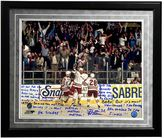 "Steiner Sports New York Rangers Stephane Matteau 1994 Game 7 Game-Winning Goal Commentary Facsimile 16"" x 20"" Framed Metallic Story Photo"