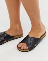 Asos Design DESIGN Flare cross strap sliders in croc