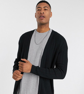 ASOS DESIGN Tall knitted lightweight cable cardigan in black