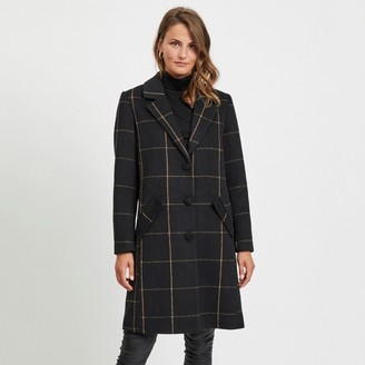 Vila Long Checked Single-Breasted Coat with Pockets