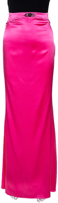 Roberto Cavalli Pink Embellished Stretch Satin Silk Maxi Skirt L
