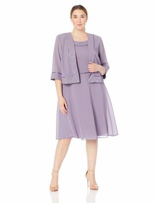 Le Bos Women's Plus Size Glitter Trim Jacket Dress