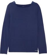 Calvin Klein Underwear Seductive Comfort Lace-trimmed Stretch-modal Pajama Top - Storm blue