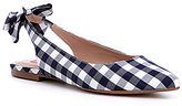 Betsey Johnson Ann Blue Gingham Bow Detail Slingback Flats