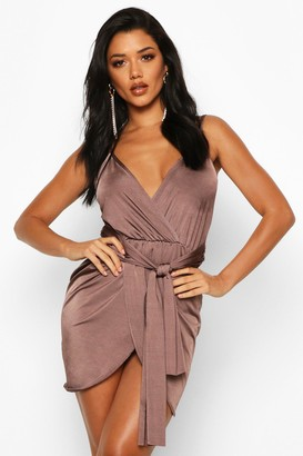 boohoo Wrap Belted Bodycon Dress