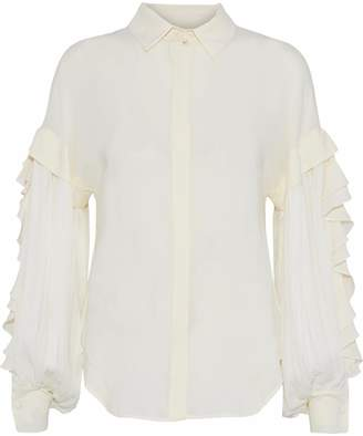 Antonio Berardi Ruffle-trimmed Pleated Georgette Shirt