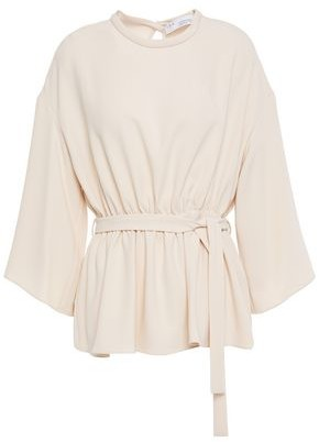 IRO Gathered Belted Crepe Top