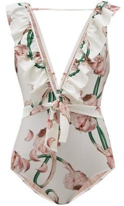 Adriana Degreas Ruffled V-neck Aglio-print Swimsuit - Womens - White Print