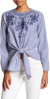 Lea & Viola Tie Front Embroidered Striped Print Poplin Blouse