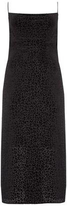 Mint Velvet Black Leopard Slip Midi Dress