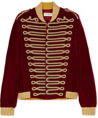Saint Laurent Metallic Braided Velvet Bomber Jacket - Red