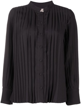 L'Autre Chose Pleated Long-Sleeved Blouse
