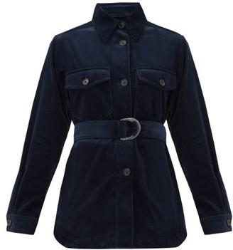 Bella Freud Belted Cotton-corduroy Shirt Jacket - Navy
