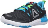 Reebok ZPrint 3D MTL Juniors Running Shoe 5 Black-Semi Solar Green-Wild Blue-Silver