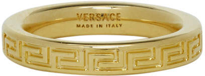Versace Gold Thin Empire Greek Ring