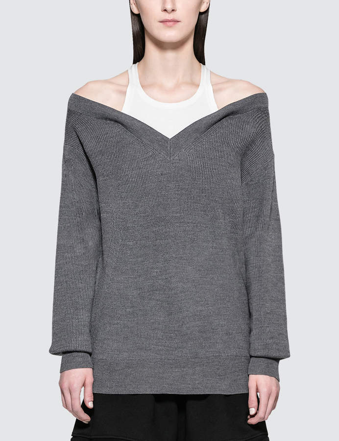 Alexander Wang Bi-layer Off Shoulder With Inner Tank Sweater