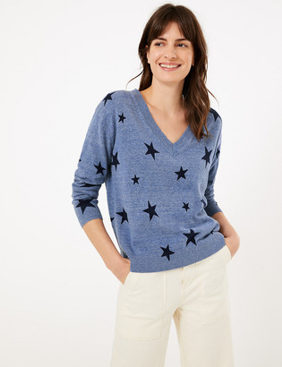 Marks and Spencer Pure Cotton Star Print V-Neck Jumper