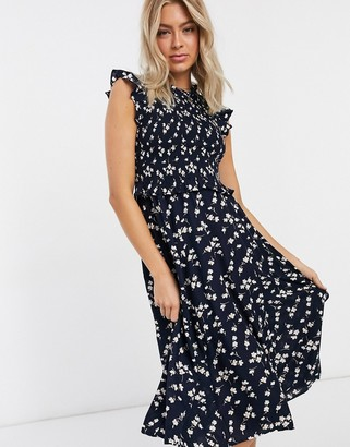Pieces midi dress with ruched bust in black ditsy floral