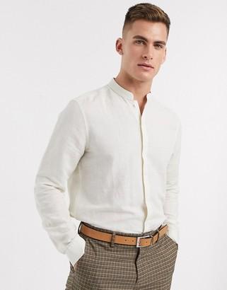 Asos DESIGN regular fit smart linen shirt with mandarin collar in ecru