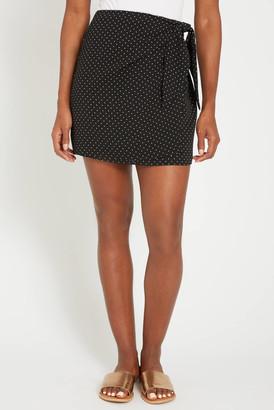 A Love Like You Polka Dot Wrap Mini Skirt Black Multi XS