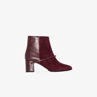 Jennifer Chamandi burgundy Danilo 65 suede ankle boots