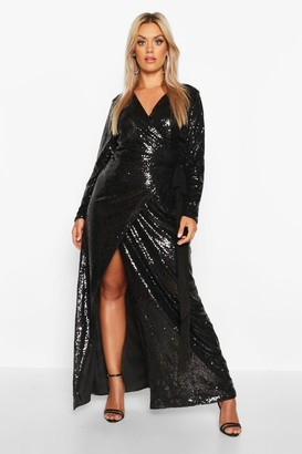 boohoo Plus Sequin Wrap Floor Sweeping Maxi Dress