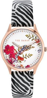 Ted Baker Women's Belgravia Printed Leather Strap Watch, 36mm