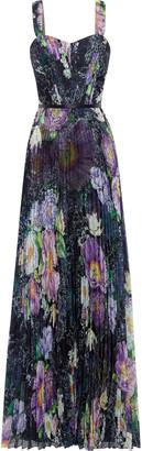 Marchesa Notte Floral-print Plisse-georgette Gown
