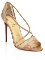 Christian Louboutin Silkova 100 Patent Leather & Mesh Sandals