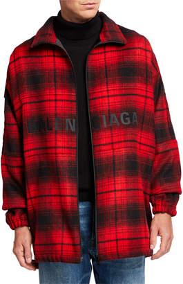 Balenciaga Men's Plaid Wool Cocoon Zip-Front Anorak Jacket
