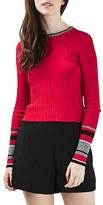 Topshop Women's Stripe Cuff Crop Top