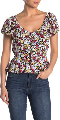 Trixxi Floral Print Lace-Up Peplum Top
