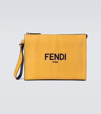 Fendi Logo leather pouch