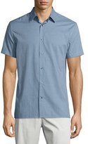 Vince Micro-Check Print Short-Sleeve Shirt, Lucent Blue/Night Shadow