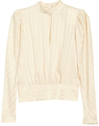 Frame Tonal Striped Puff Sleeve Silk Blouse