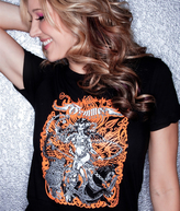 Femme Metale Jewelry T Shirt Orange Girl