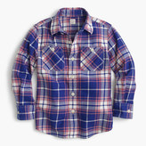 J.Crew Kids' flannel shirt in cobalt plaid