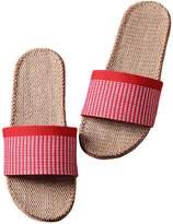 Freewent Women's Comfortable Silent Antiskid Cotton Flax Indoor Slippers Open Toe 37-38