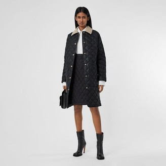 Burberry Corduroy Collar Diamond Quilted Car Coat