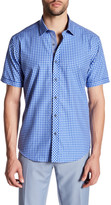 Bugatchi Trim Fit Short Sleeve Checkered Shirt