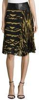 Roberto Cavalli Leather Waist Tiger-Print Pleated Skirt, Nero/Oro Bronzo