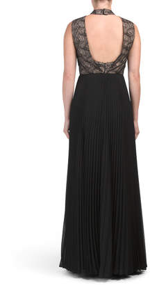 Lace Pleated Georgette Gown