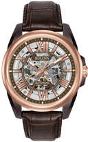 Bulova Sutton Mens Automatic Brown Leather Strap Watch-98a165