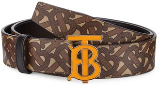 Burberry Monogram Hand-Painted E-Canvas Leather Belt