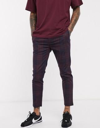 Topman pants in navy & burgundy check